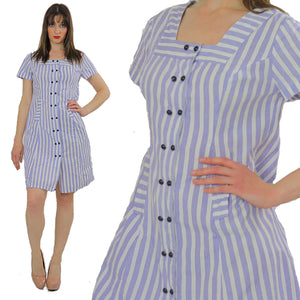 Vintage 60s Boho mod striped Nautical sailor mini dress - shabbybabe  - 5