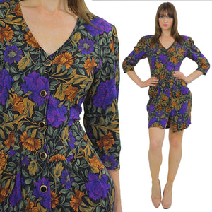 80s fitted purple floral wiggle mini dress - shabbybabe  - 2