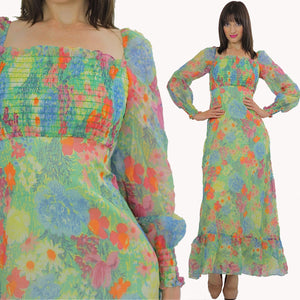 Vintage 70s Boho Hippie Neon Floral Sheer maxi dress - shabbybabe  - 5