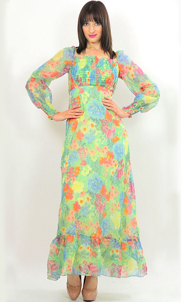 Vintage 70s Boho Hippie Neon Floral Sheer maxi dress - shabbybabe  - 1
