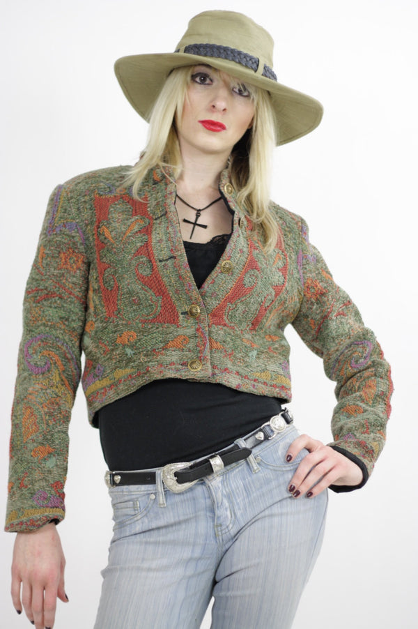 Southwestern jacket cropped Festival tribal woven button up Hippie embroidered vintage 1980s cropped top Small - shabbybabe  - 1