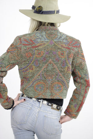 Southwestern jacket cropped Festival tribal woven button up Hippie embroidered vintage 1980s cropped top Small - shabbybabe  - 5