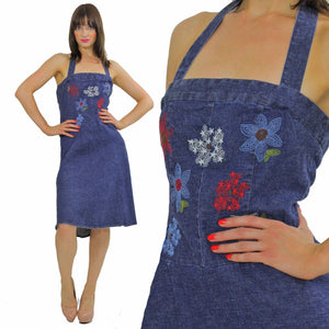 Vintage 90s Grunge Boho Denim halter mini dress - shabbybabe  - 5
