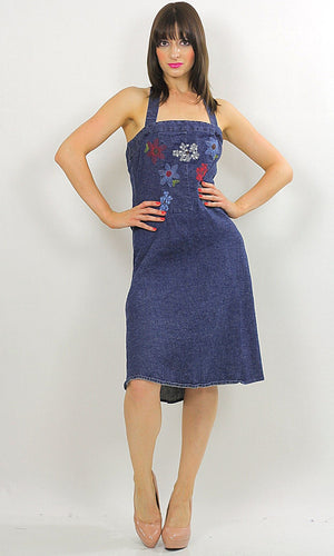 Vintage 90s Grunge Boho Denim halter mini dress - shabbybabe  - 1