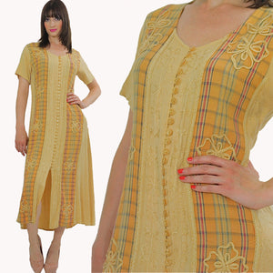 Patchwork Dress Embroidered 90s grunge pastel yellow plaid tie back button up yellow ankle length short sleeve maxi Large - shabbybabe  - 1