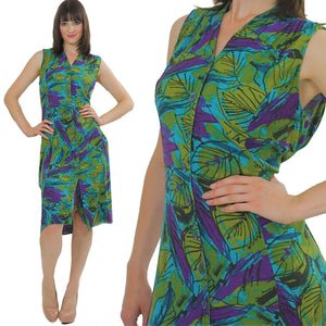 Vintage 80s Hippie Boho Tropical floral shirt dress - shabbybabe  - 2