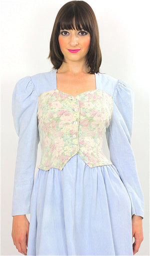 Vintage 80s Boho Chambray Gypsy Floral mini dress - shabbybabe  - 1