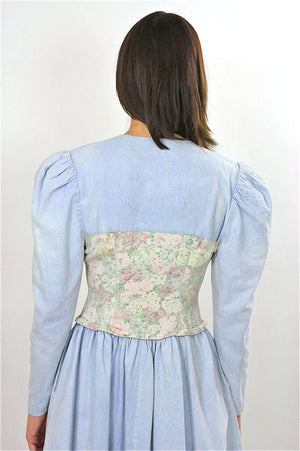 Vintage 80s Boho Chambray Gypsy Floral mini dress - shabbybabe  - 4