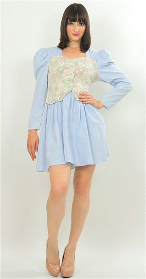 Vintage 80s Boho Chambray Gypsy Floral mini dress - shabbybabe  - 2