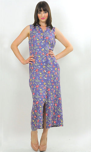 Vintage 90s Grunge Boho mini floral button maxi dress - shabbybabe  - 1