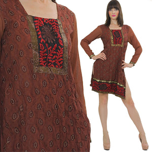 70s Boho embroidered India ethnic dress sheer floral metallic M - shabbybabe  - 1