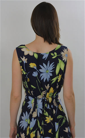 90s Grunge Tropical floral dress navy sundress sleeveless - shabbybabe  - 5
