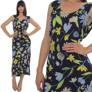 90s Grunge Tropical floral dress navy sundress sleeveless - shabbybabe  - 2