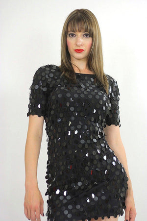 Vintage sequin dress Black circle sequin dress party mini dress sequin beaded dress Deco dress Gatsby dress party dress S small - shabbybabe  - 3