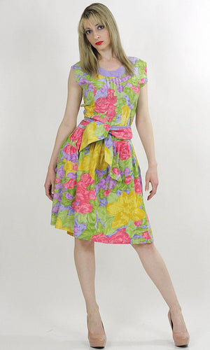 80s neon floral party mini dress cocktail tropical sundress M - shabbybabe  - 1