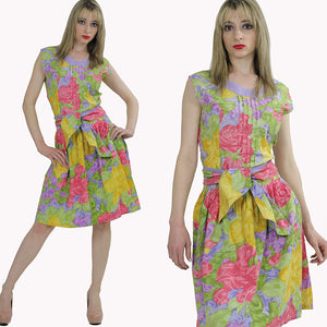 80s neon floral party mini dress cocktail tropical sundress M - shabbybabe  - 3