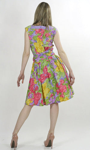 80s neon floral party mini dress cocktail tropical sundress M - shabbybabe  - 5