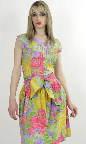 80s neon floral party mini dress cocktail tropical sundress M - shabbybabe  - 2