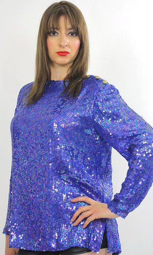 Vintage sequin beaded top sequin top beaded top Sequin tunic top Gatsby dress top Beaded party dress top Party top deco top deco dress top M - shabbybabe  - 2
