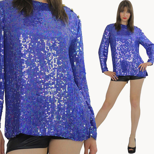 Vintage sequin beaded top sequin top beaded top Sequin tunic top Gatsby dress top Beaded party dress top Party top deco top deco dress top M - shabbybabe  - 1