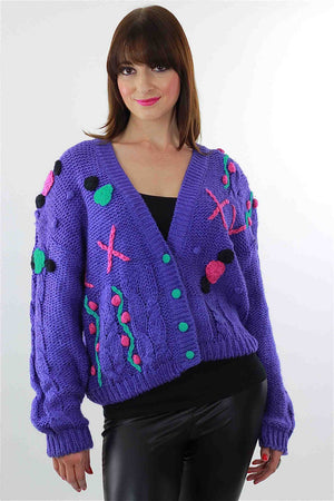 Cable knit Cardigan Applique Hand knit  Purple floral sweater - shabbybabe  - 1