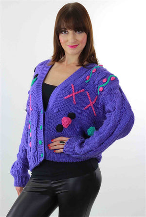Cable knit Cardigan Applique Hand knit  Purple floral sweater - shabbybabe  - 3