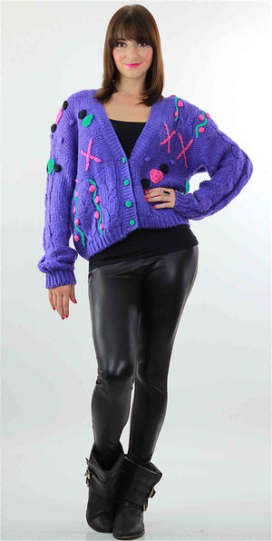 Cable knit Cardigan Applique Hand knit  Purple floral sweater - shabbybabe  - 5
