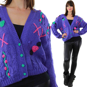 Cable knit Cardigan Applique Hand knit  Purple floral sweater - shabbybabe  - 2