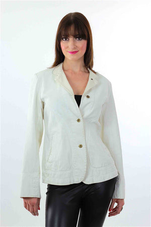 Vintage White denim jacket DKNY jacket  Designer Blazer Denim long sleeve Donna Karen Jacket White Jacket 80s denim Jacket Boho Jacket - shabbybabe  - 1
