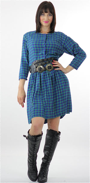 Vintage 90s grunge Plaid Dress  Blue tartan plaid shirt dress long sleeve mini dress M - shabbybabe  - 2