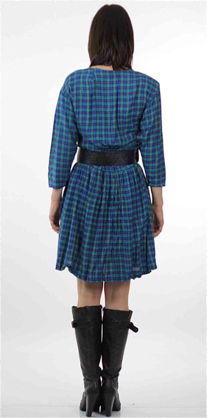 Vintage 90s grunge Plaid Dress  Blue tartan plaid shirt dress long sleeve mini dress M - shabbybabe  - 3