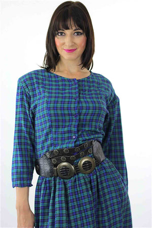 Vintage 90s grunge Plaid Dress  Blue tartan plaid shirt dress long sleeve mini dress M - shabbybabe  - 4