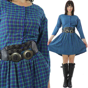 Vintage 90s grunge Plaid Dress  Blue tartan plaid shirt dress long sleeve mini dress M - shabbybabe  - 1