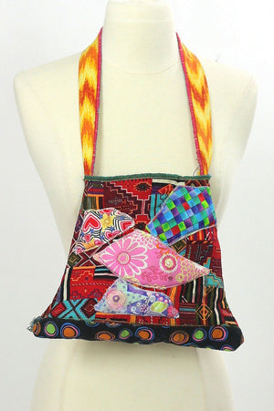 Vintage 70s Quilted bag Hand quilted Butterfly bag Boho bag Hippie fabric bag Signed bag Butterfly quilted handbag Handmade Applique bag - shabbybabe  - 2