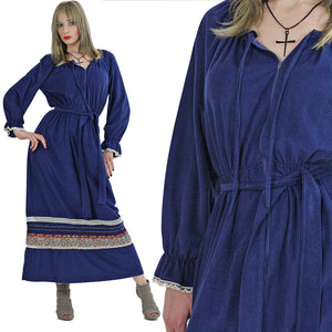 Velour caftan dress 70s Hippie Boho Maxi Dress 1970s Navy blue border design long sleeve lounge robe zipper front caftan striped M Medium - shabbybabe  - 2
