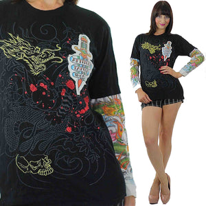 Dragon Graphic T shirt black white Tattoo print long sleeve Patchwork hipster M - shabbybabe  - 1