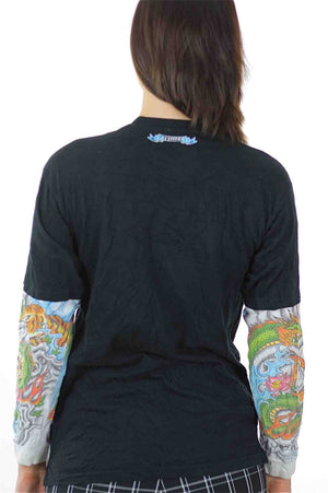 Dragon Graphic T shirt black white Tattoo print long sleeve Patchwork hipster M - shabbybabe  - 4