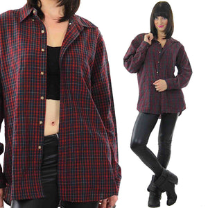 90s Grunge Pendleton wool red plaid shirt - shabbybabe  - 2