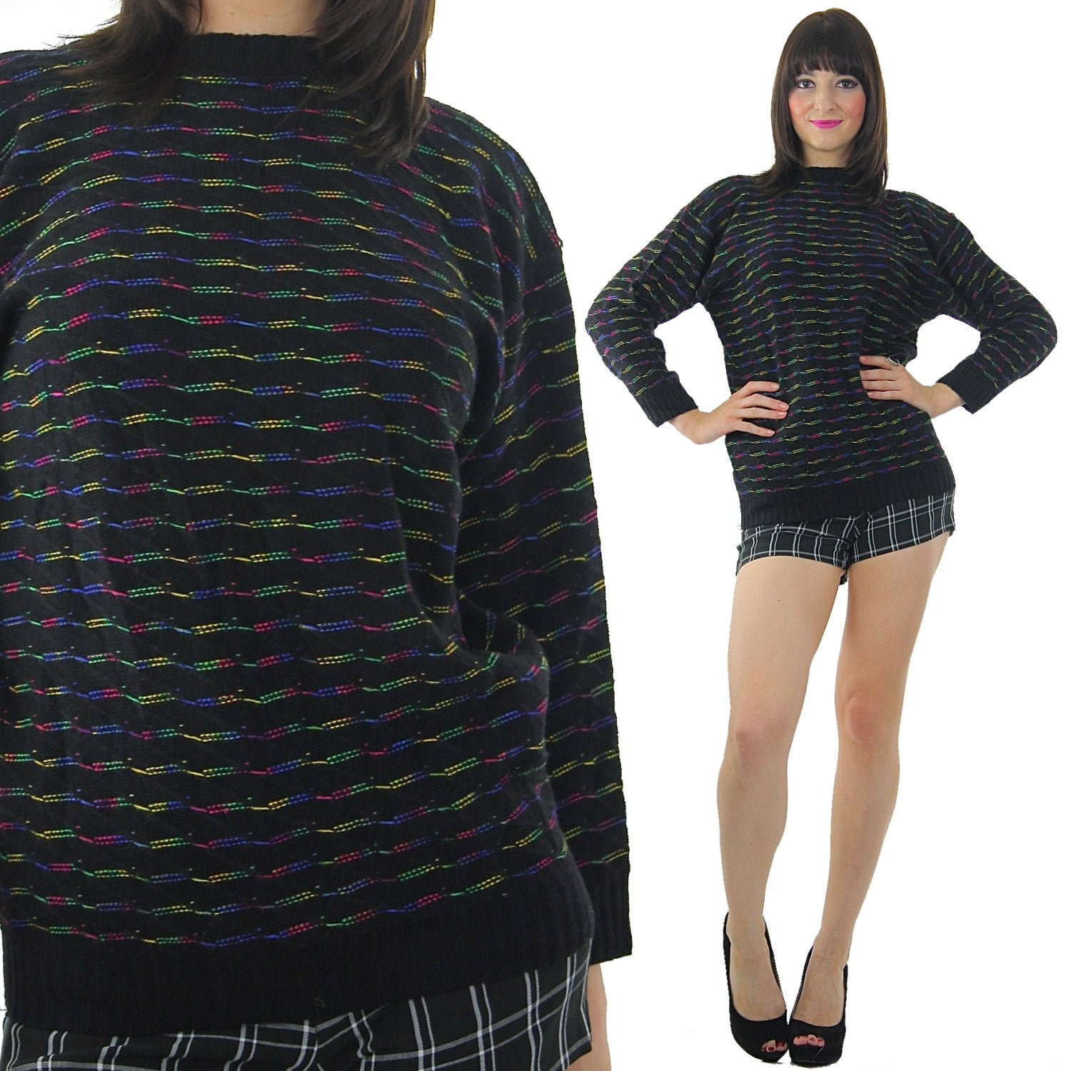 408fb9b2fe 80s striped black sweater pullover rainbow ribbed knit turtle neck top -  shabbybabe - 2