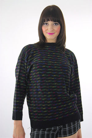 80s striped black sweater pullover rainbow ribbed knit turtle neck top - shabbybabe  - 1