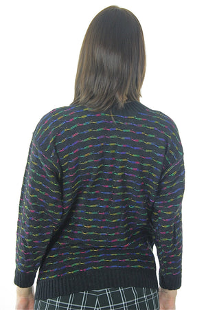 80s striped black sweater pullover rainbow ribbed knit turtle neck top - shabbybabe  - 3