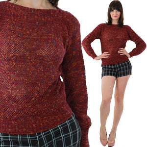Red Sweater 90s Grunge Loose Cotton Holiday Knitted Mod boat neck multicolor Ribbed sweater Medium - shabbybabe  - 1