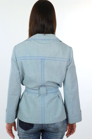 Embroidered hippie jacket belted chambray jacket festival bell sleeve - shabbybabe  - 5