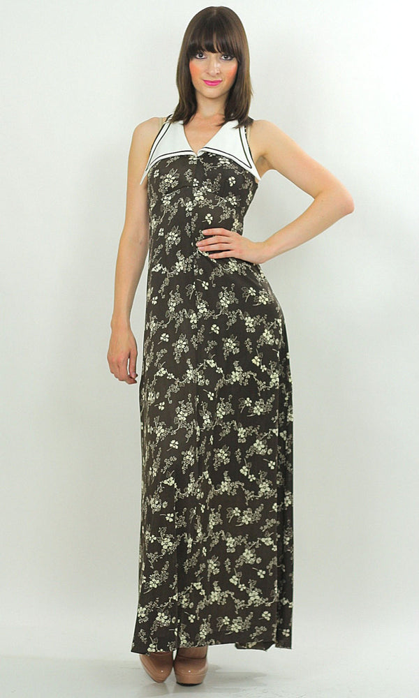 Boho sleeveless nautical maxi dress party floral mod festival - shabbybabe  - 1