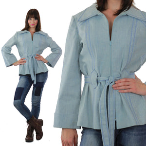 Embroidered hippie jacket belted chambray jacket festival bell sleeve - shabbybabe  - 2