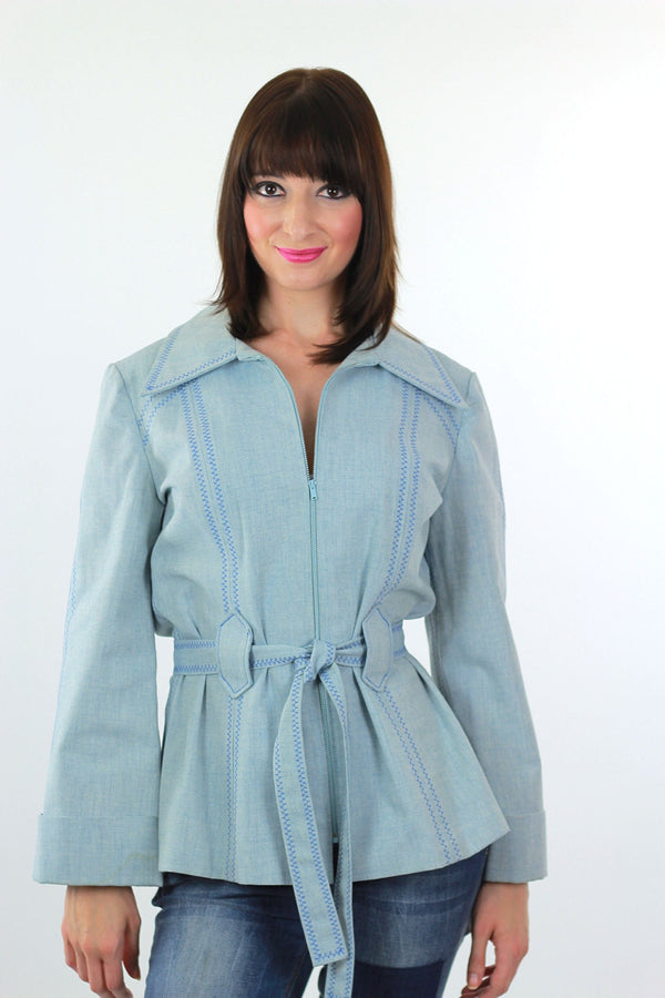 Embroidered hippie jacket belted chambray jacket festival bell sleeve - shabbybabe  - 1