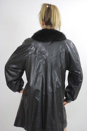 Vintage Leather jacket Boho Leather jacket Fur trimmed leather coat jacket Hippie leather jacket Party fur leather jacket Stroller coat M - shabbybabe  - 5
