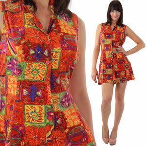90s Grunge boho patchwork button up tribal mini dress - shabbybabe  - 2