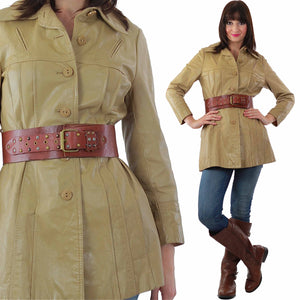 Boho hippie brown leather jacket retro trench coat - shabbybabe  - 2