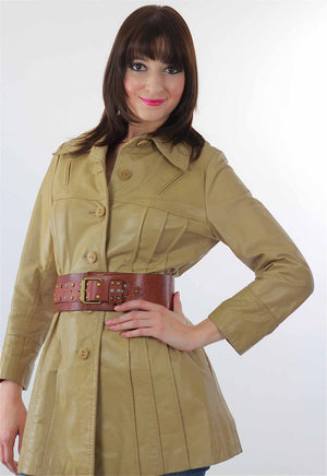 Boho hippie brown leather jacket retro trench coat - shabbybabe  - 1